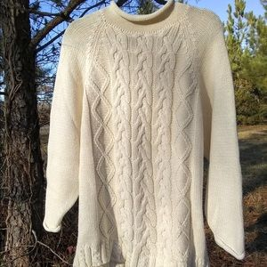 The Limited Hand Knit Ivory Medium Chunky Sweater